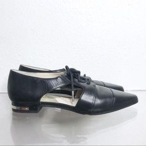 Michael Kors black cut out loafers flats